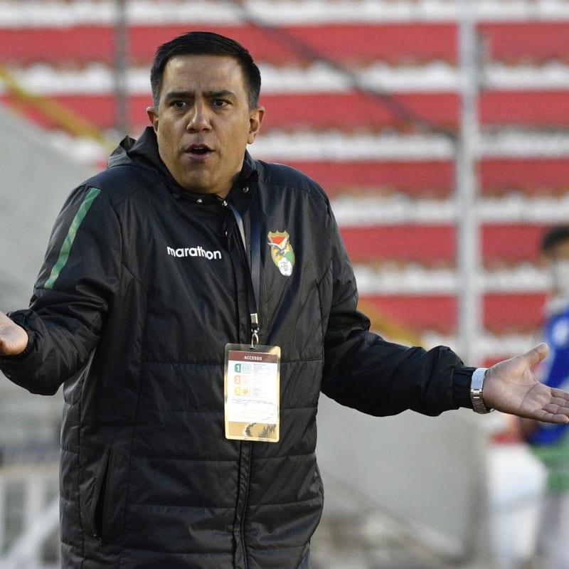 Cesar Farias coach of Bolivia reacts during a match between Bolivia and Venezuela