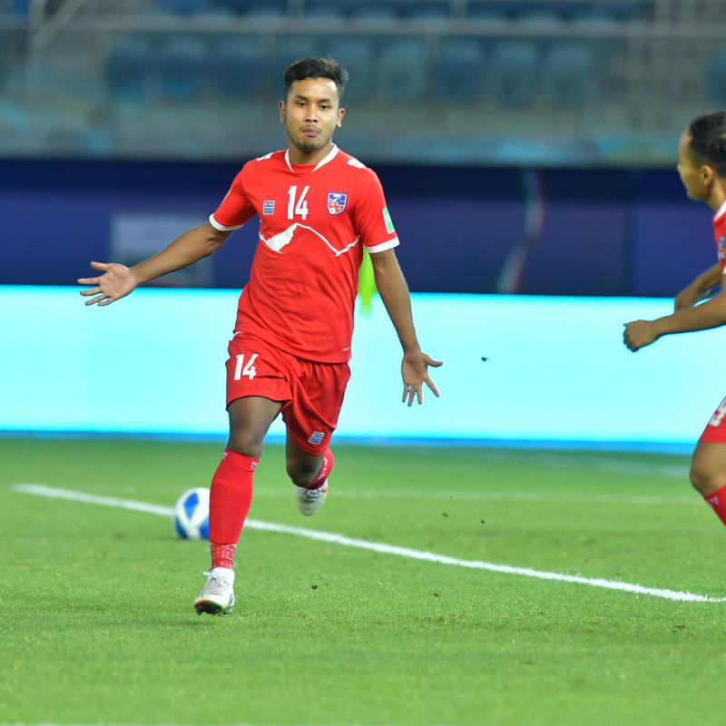 Anjan Bista celebrates scoring for Nepal