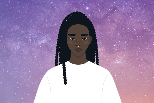 black woman wearing white sweatshirt