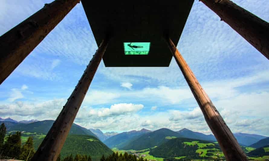 The swimming pool at Hotel Hubertus in the Italian Tirol