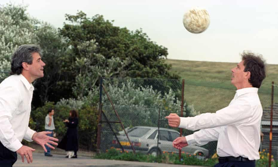Kevin Keegan and Tony Blair play head tennis during a break at Labour party conference. 'Blair had passed as a genuine football fan.'