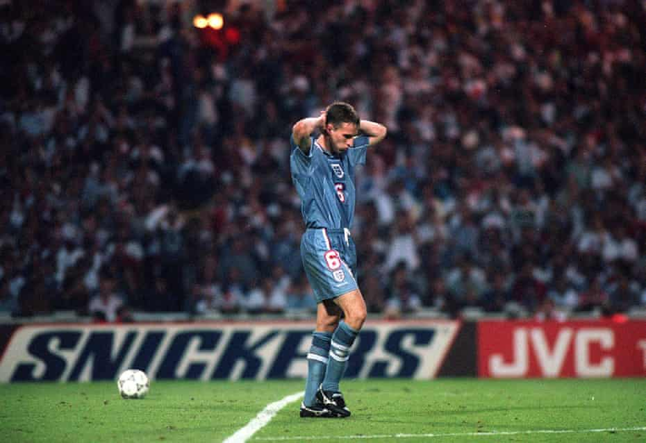 The end. Gareth Southgate walks away after missing the penalty that sent England out of Euro 1996 in the semi-final against Germany. Southgate is England manager for Euro 2020.