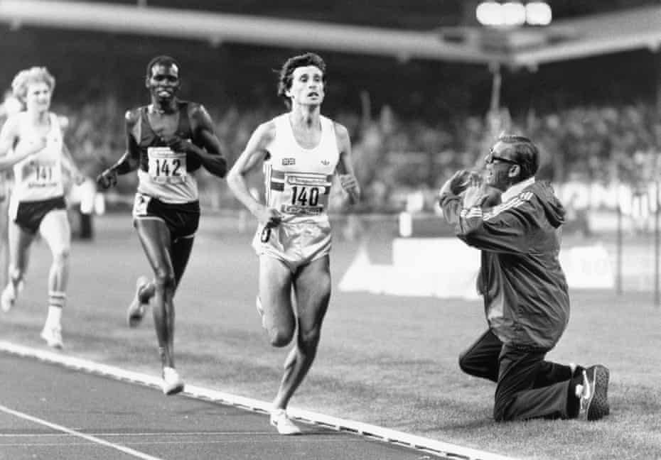 Sebastian Coe's father and coach, Peter. shouts encouragement to his son on his way to breaking the mile record in Zurich in August 1981.