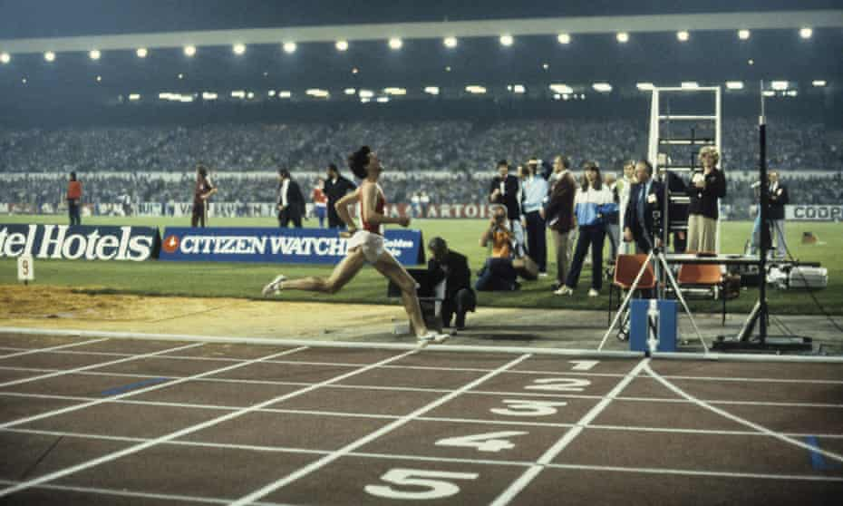Sebastian Coe breaking the world mile record at the 1981 Golden Mile in Brussels.
