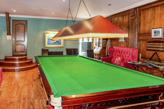 snooker table in games room of durham house