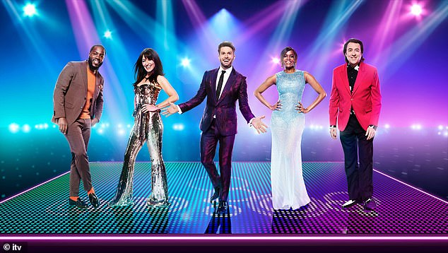 Panel: The Strictly Come Dancing champion will join fellow judges Davina McCall (second left), Mo Gilligan (far left) and Jonathan Ross (far right). Pictured also is hostJoel Dommett