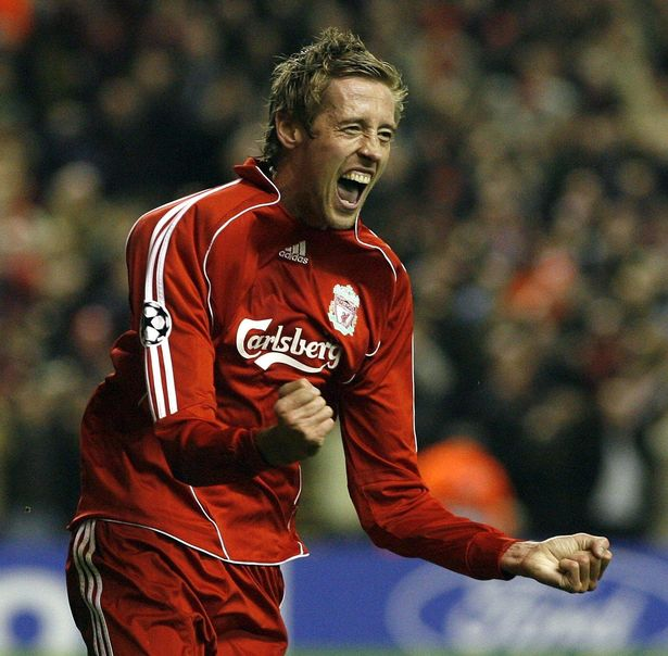 Peter Crouch celebrates after scoring a goal during the Uefa Champions League qualifying group match between Liverpool v Besiktas on 06/11/2007