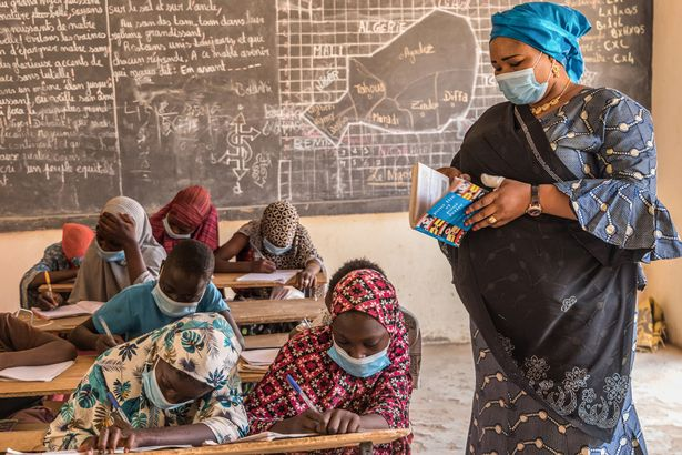 Rose Ramatou is a teacher at Kobadjé school in Niger, which has welcomed children who have fled an upsurge of violence across Africa's Sahel region
