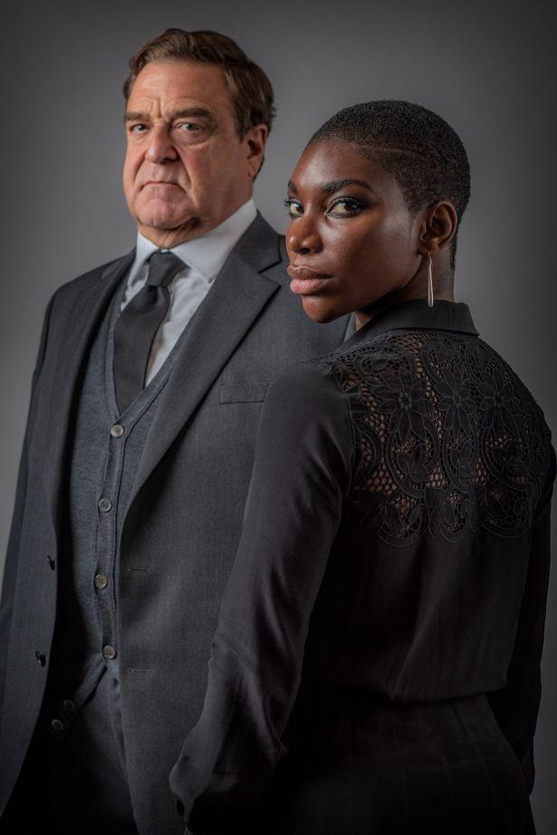 Michaela with John Goodman in series Black Earth Rising