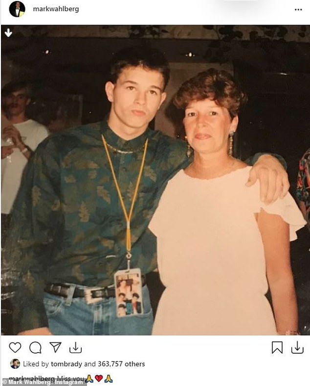 Tribute: The leading man shared a throwback snap, seemingly from his Marky Mark rapper days in the early 1990s, when he paid tribute to his mom