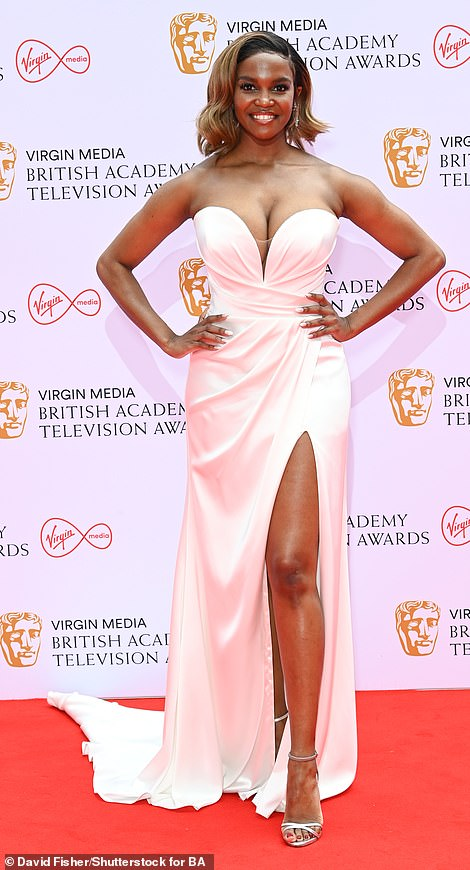 Glamorous: Oti stepped out in truly glamorous style for the occasion as she hit the red carpet well ahead of the ceremony