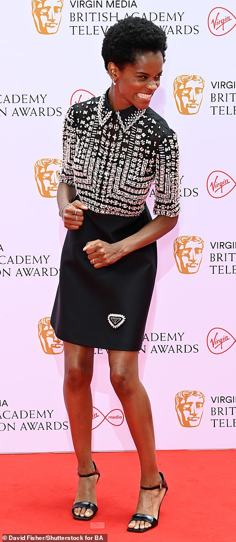 Shine bright: Nominee Letitia Wright arrived in a breathtaking black dress, which was embellished with crystals on the top