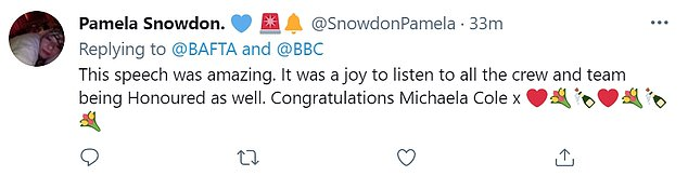 Reaction:Fans of the actress took to Twitter following her wins, with one writing: 'Congrats Michaela! I May Destroy You was excellent. She's amazing'