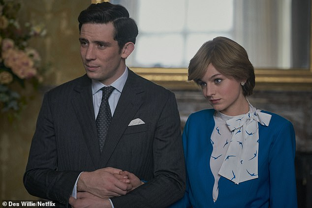 Nomination: The Netflix drama, loosely based on the Royal Family, was nominated for a variety of gongs including Drama Series, Leading Actor, Supporting Actor and Supporting Actress (pictured Emma Corrin as Princess Diana and Josh O'Connor as Prince Charles)