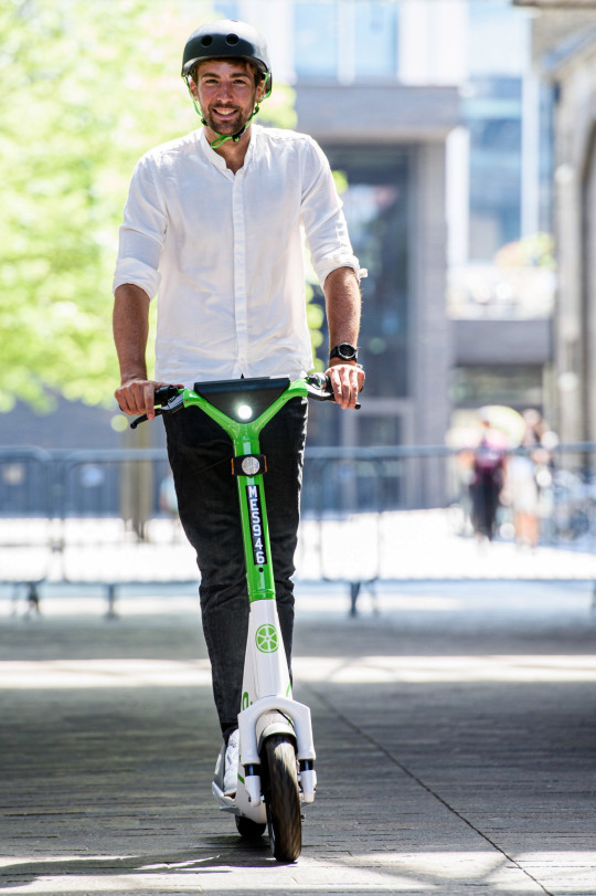 EDITORIAL USE ONLY Alan Clarke, Director of Policy Northern Europe for Lime, rides an electric scooter as Lime announces a year-long trial in partnership with TfL, which will see 200 of its latest Gen4 e-scooters available across London to hire through the micro mobility operators app. Issue date: Monday June 7, 2021. PA Photo. The new e-scooters will be available alongside the provider's existing e-bike fleet, which has delivered over 3 million zero carbon rides since it launched in December 2018. Safety features including on-vehicle geofencing technology, large pothole-proof wheels, mountain bike inspired suspension and industry-leading drum brakes. Photo credit should read: Anthony Upton/PA Wire