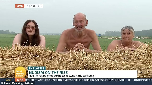 Convenient!Covering their naked bodies by kneeling behind straw bales, Colin explained: 'It's enjoyable, it's convenient,, you're not struggling to change your clothes in a small tent...'