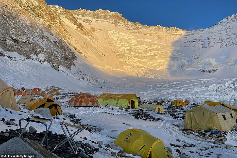 Tents at Camp 2 on May 31 at sunrise. Record numbers of permits have been issued after last year's climbing season was dashed by coronavirus