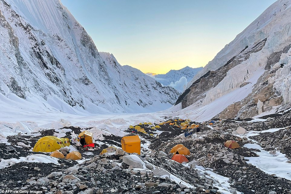 Mountaineers' tents at Camp 2 on Mount Everest on May 8