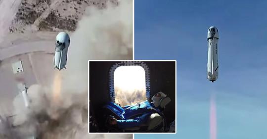 Blue Origin's New Shepard suborbital launch vehicle lifts off from Van Horn, Texas, U.S., January 14, 2021 (Blue Origin)