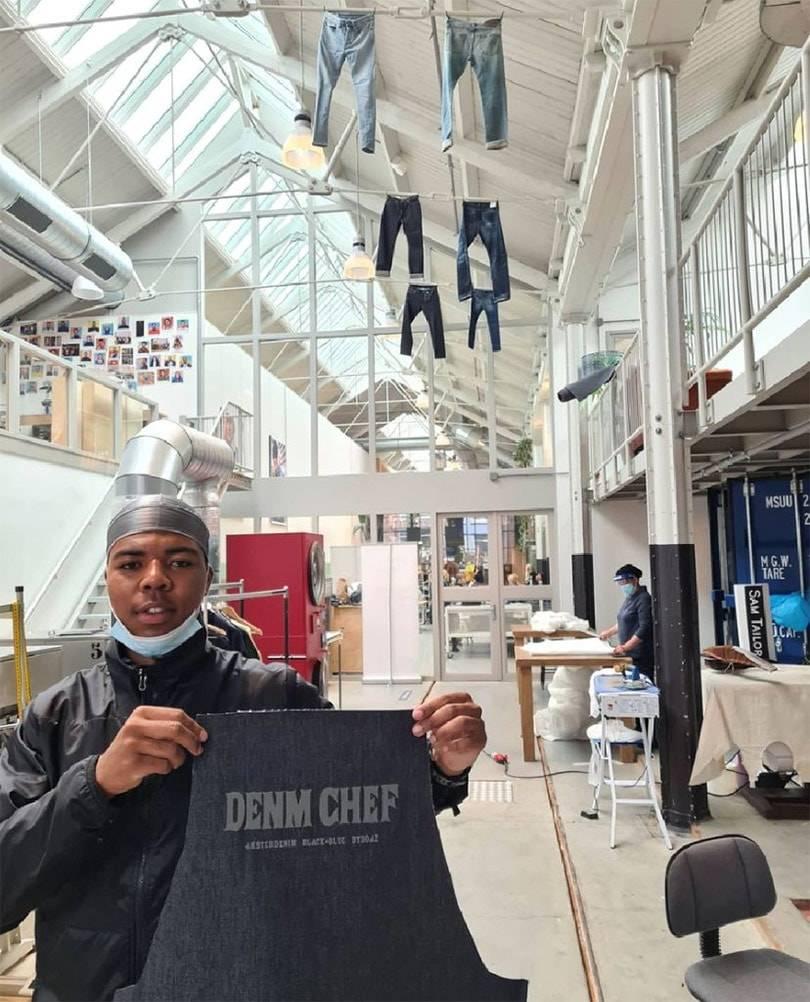 DENM CHEF: Amsterdenim x Black & Blue x ByBoaz BBQ apron made of 100% recycled denim