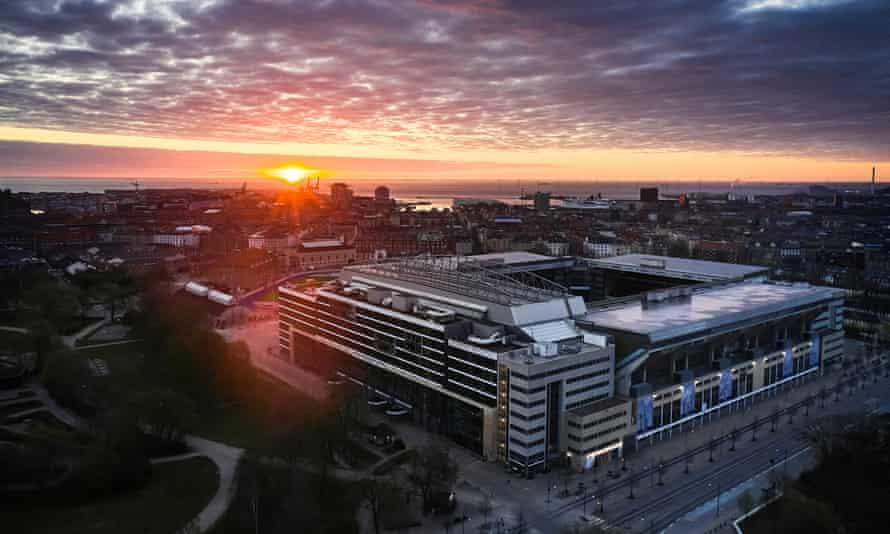 An aerial view of the Parken Stadium