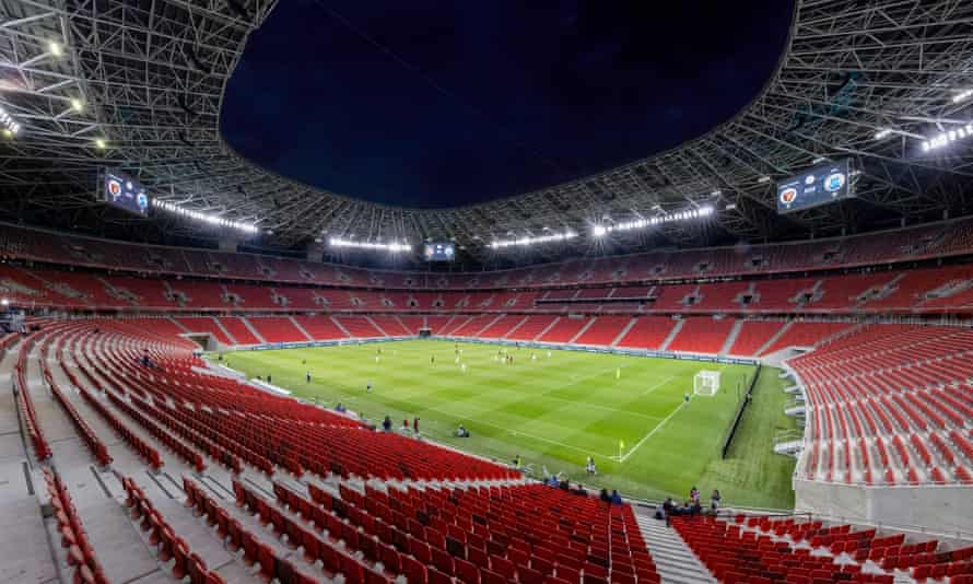 A view of the pitch at the Puskas Arena