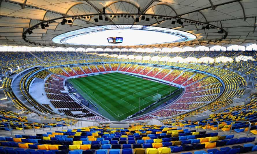 A view of the pitch at the National Stadium, Bucharest.