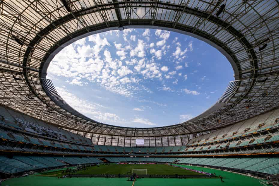 An interior view of the Baku Olympic Stadium, Azerbaijan.