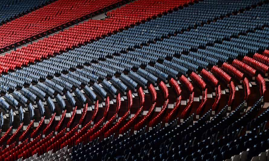 Empty seats at Hampden Park.
