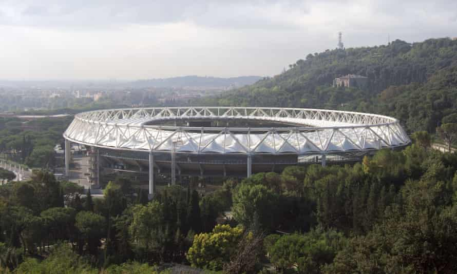 The stadium is situated on a hillside in Rome.