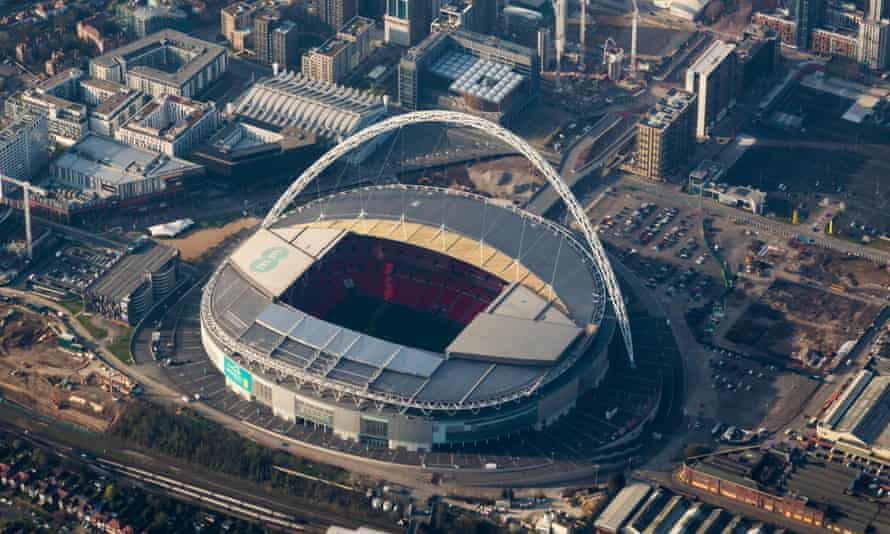 An aerial view of Wembley