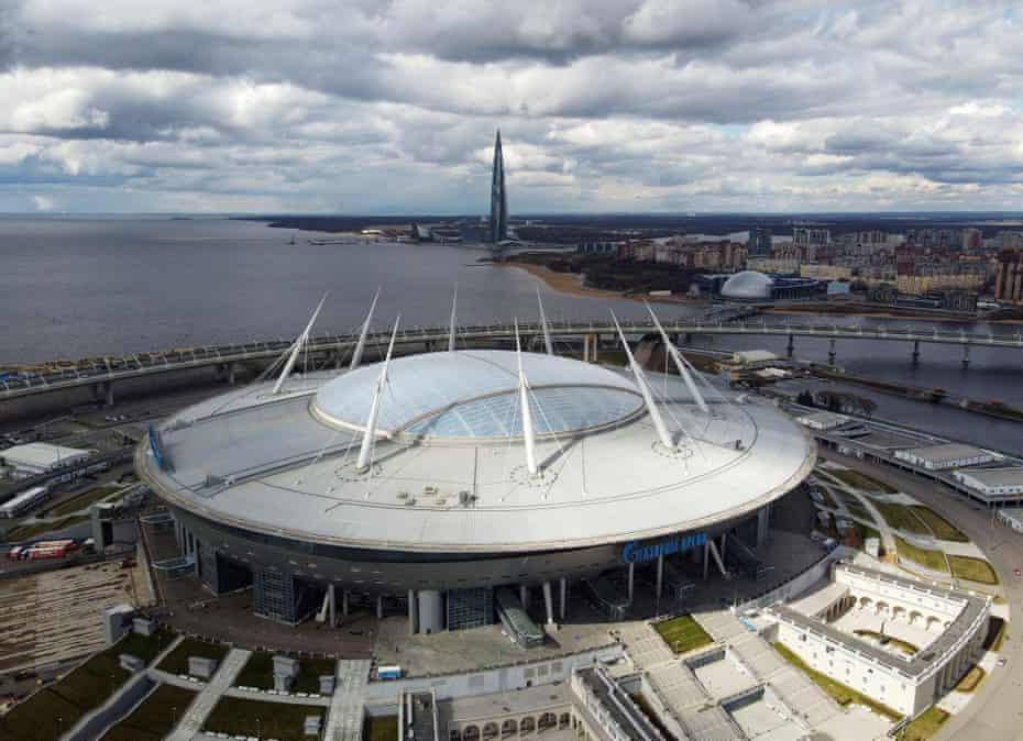 An aerial view of St Petersburg Stadium.