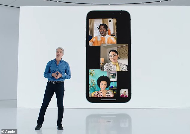 iOS 15 also releases a new feature to FaceTime that puts it in the race against the popular video conferencing platform Zoom. Pictured is SVP of Software Engineering Craig Federighi during the online event