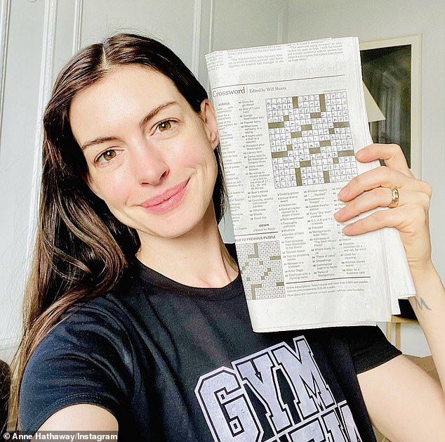 'I am very honored and proud to have been featured as a clue!'On Monday, Hathaway - last seen in Amazon Prime Video series Solos - shared a snap of herself holding the New York Times crossword puzzle, in which she's number 33 down