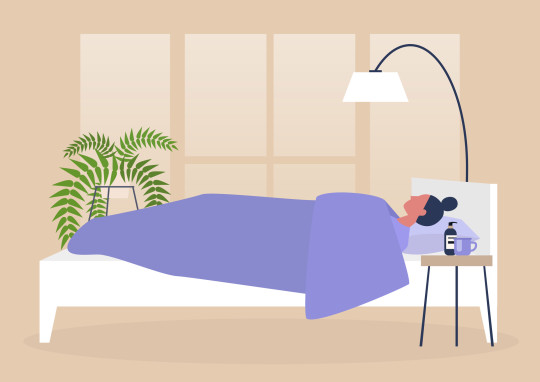 Young female character lying in bed, side view, early morning