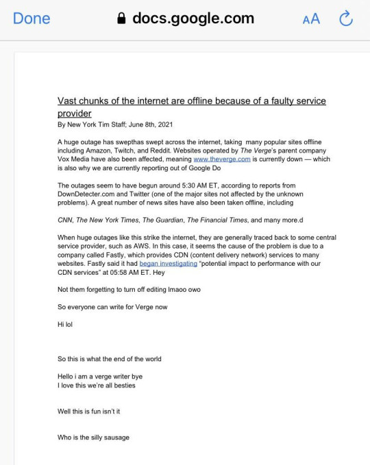 Verge tried reporting from a Google Doc but forgot to make it private