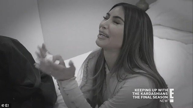 Upset:Just days prior, Kim sobbed in the penultimate episode of Keeping Up With The Kardashian as she admitted her marriage to Kanye had ended