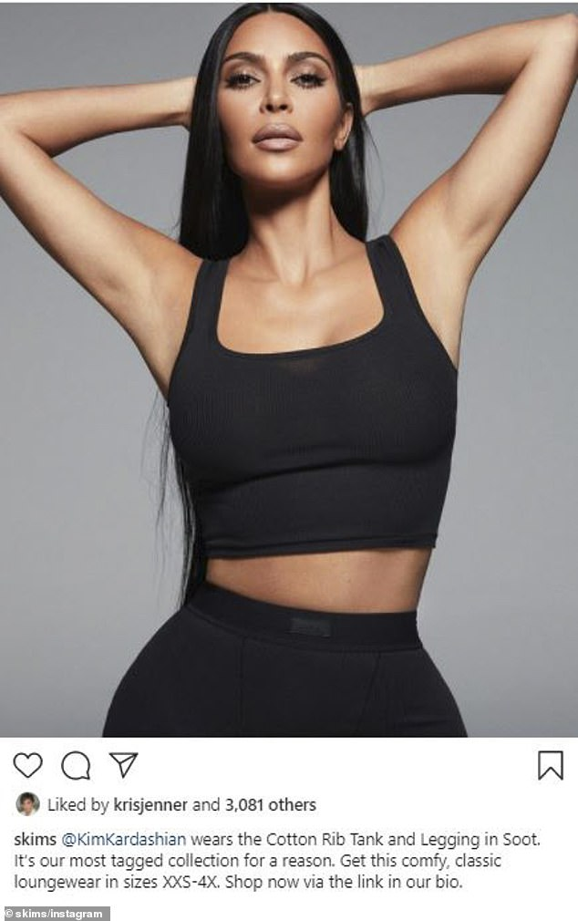 Looking good: Soon after Kim's brand SKIMS shared a snap of her rocking a crop top and matching bottoms
