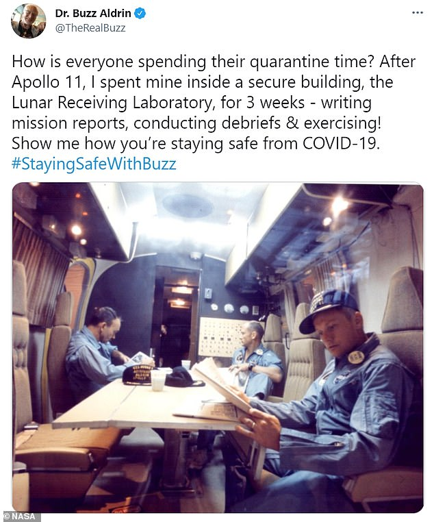 Apollo 11 astronaut Buzz Aldrin tweeted that he had to quarantine after returning from the moon after concerns he and the other astronauts would bring back pathogens from the moon