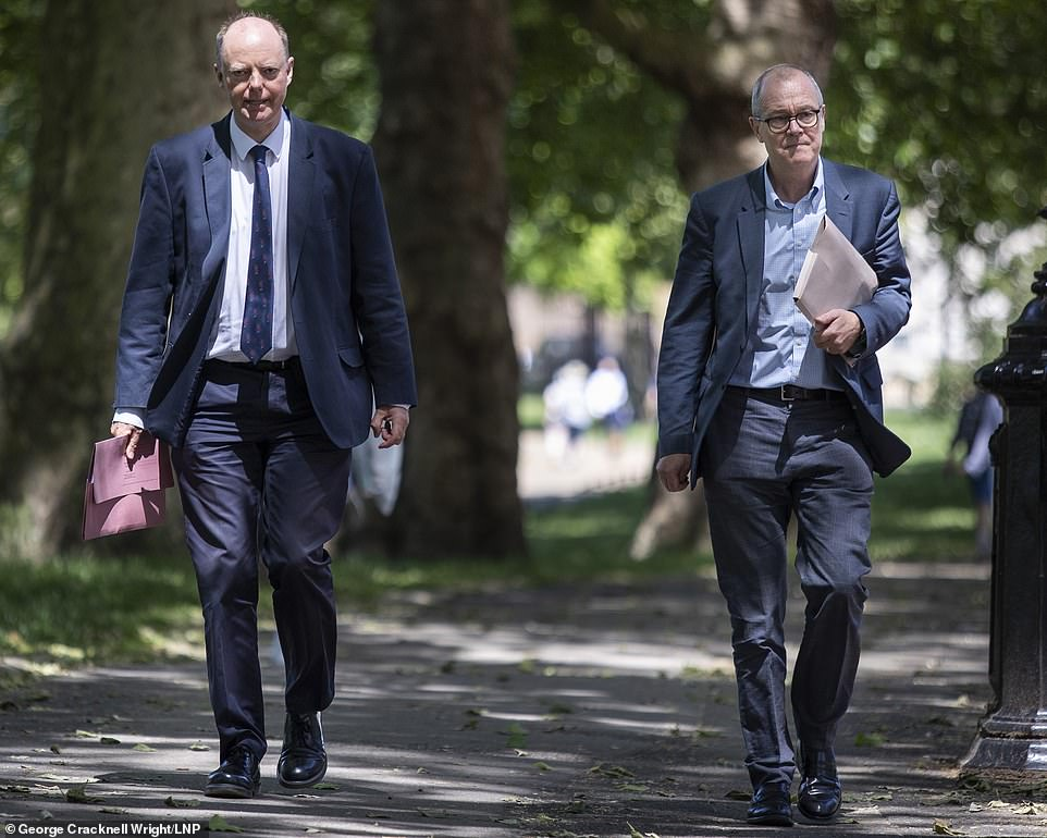 New rules in the North West come amid claims that science chiefs Professor Chris Whitty (left) and Sir Patrick Vallance (right) have spooked No10 into pushing back plans for June 21's 'Freedom Day' total unlocking citing fears of a third wave