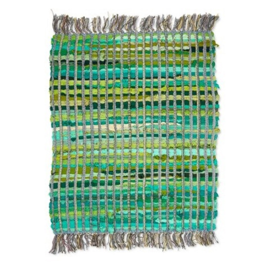 This beautiful and supremely stylish emerald green accent rug with block printing is not only sustainable but lovingly made by artisans in Delhi for a fair wage. Recycled Colour Block Green Rug (58cm x 68cm), ?14.99