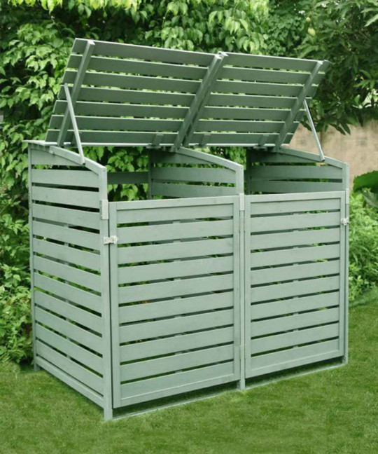 Give your unsightly bin area a makeover with this stylish wheelie bin store with horizontal wooden slats (left), which can be locked securely when necessary. Double Wheelie Bin Store (available in grey or sage green), ?199.99