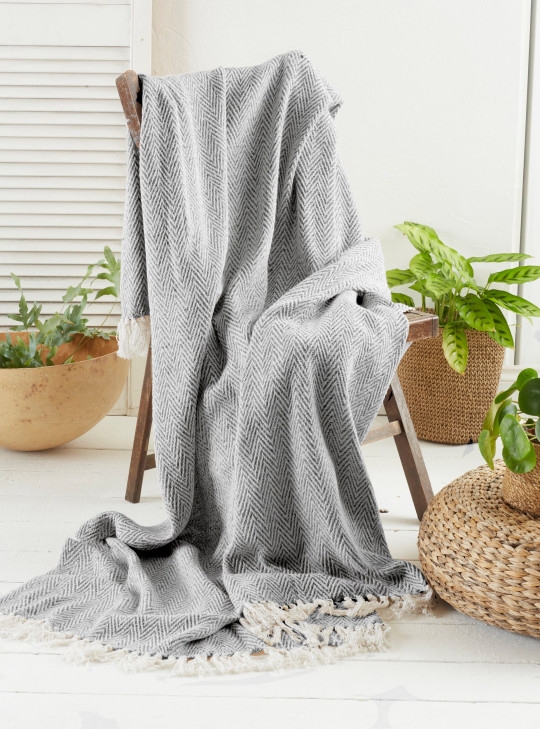 Get a warm, cosy feeling in more ways than one with this throw blanket, with a chic chevron design. Made from recycled fabrics it has saved the equivalent of 53 unwanted items of clothing going to landfill. Green Living Collective Recycled Chevron Throw (170x200cm, also available in ochre), ?14.99