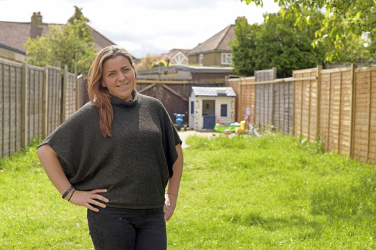 Stephanie O'Kelly photographed at the house she rents in Chessington, Surrey.