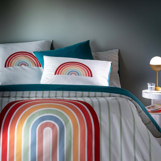 Alvara Duvet Cover in Rainbow Print Cotton