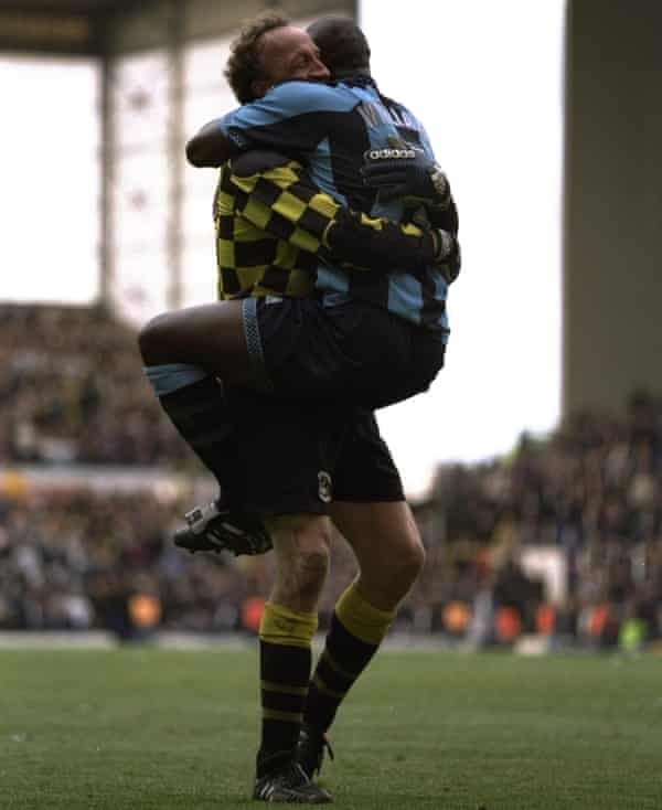 Joy for Steve Ogrizovic and Paul Williams afte staying up with a win at Tottenham on the final day in 1997.
