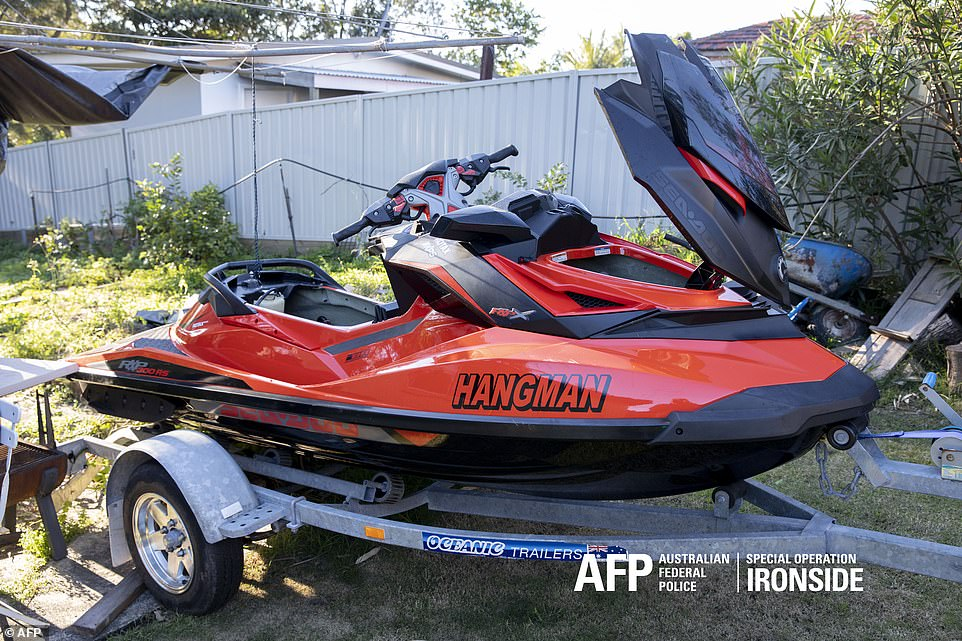 A jet ski taken by police officers in the bust which saw 200 suspected gangsters raided by federal officers