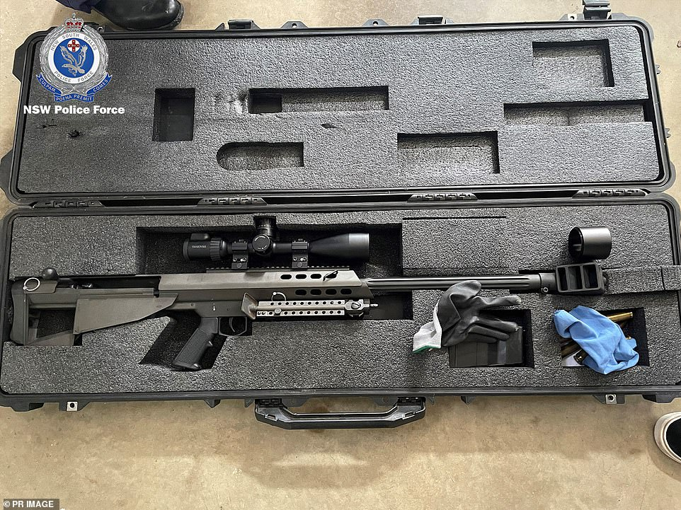 A high-powered sniper rifle taken in the sting which saw dozens of weapons, ammunition and bullet-proof vests seized