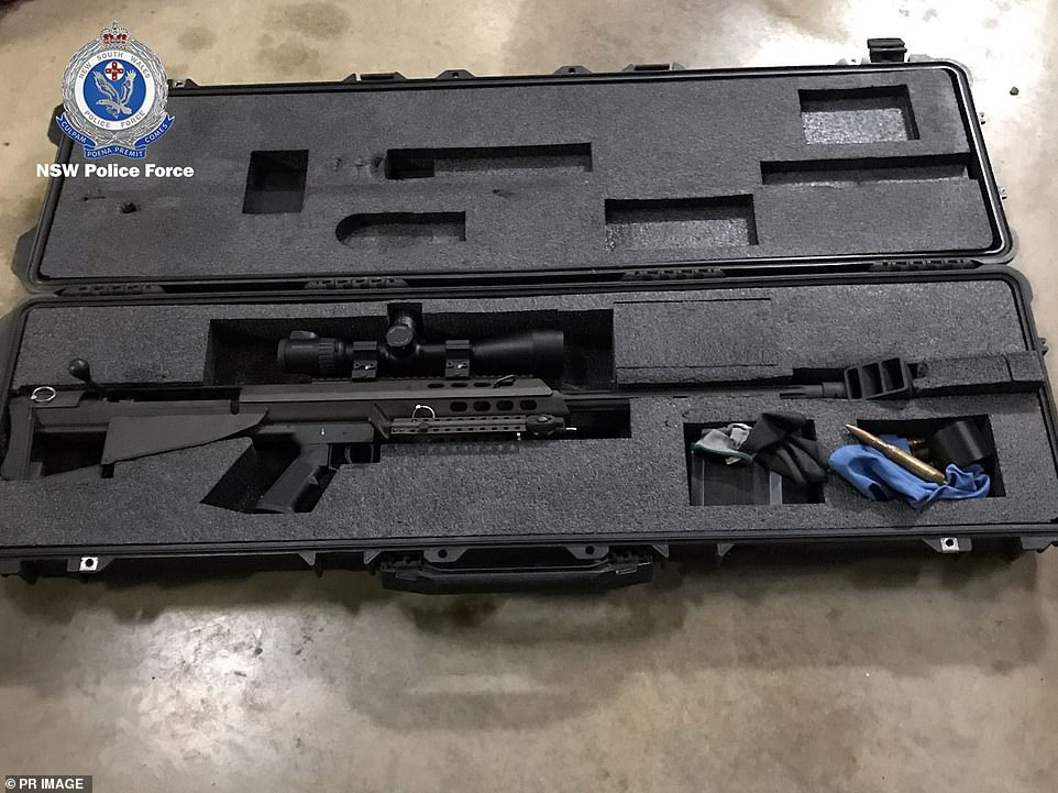 A high calibre sniper rifle seized by police in New South Wales during the overnight raids