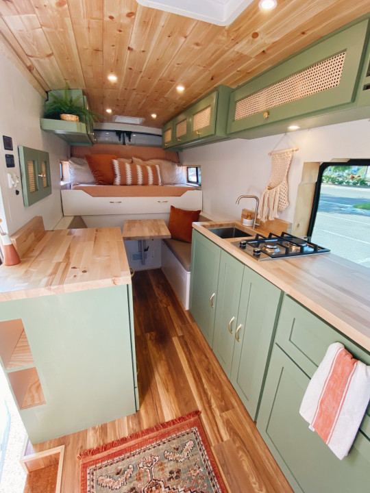 The couple's living space inside their van